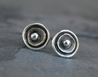 Sea Anemone Sterling Silver Earrings, Hand made Stud Earrings, Sterling Silver Post and Earring Back