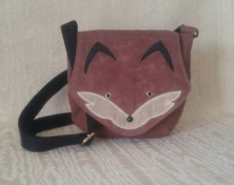 Foxy Saddlebag Crossbody Purse, Waxed Canvas, Natural Fabric Purse, Fox Purse, Handbag, Crossbody