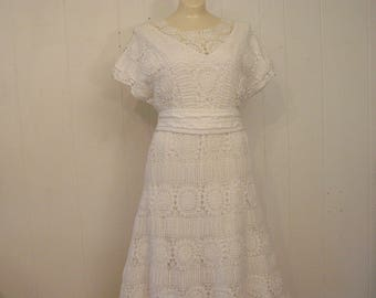 Vintage dress, 1970s dress, prarie dress, lace dress, vintage clothing, Medium