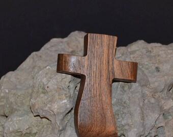 "Wooden Wall Cross; 3""x4.5""x1""; Small Wood Cross; Wall Cross Decor; Crooked Cross; Mesquite; Handmade;  Free Ground Shipping cc5-2030118"