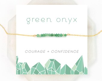 Dainty Green Onyx Necklace, Onyx Jewelry, Green Gemstone Necklace, Best Friend Gift, Chakra Stone Necklace, Beaded Bar Choker