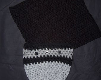 Black gray color Snood and hat set