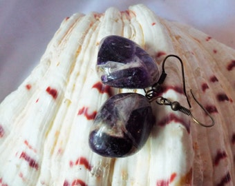 Amethyst Purple Agate Drop Earrings