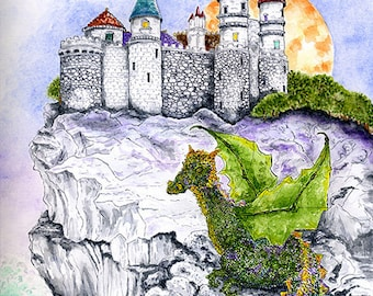 Enchanted Castle on a Cliff and Young Dragon Full Moon Print Fairytale Fantasy Art Pen and Ink Watercolor Illustration