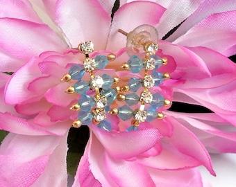 Blue Bead|and|Rhinestone Earrings Vintage Blue Earrings Rhinestone Stud Earrings Blue Dangle Earrings Wedding Gift