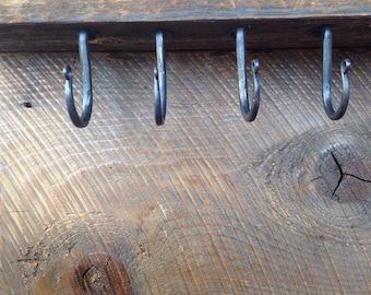Lot of 4 Hand Forged Mantle or Under Shelf Hooks