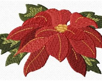 Christmas Poinsettia Machine Embroidery Design