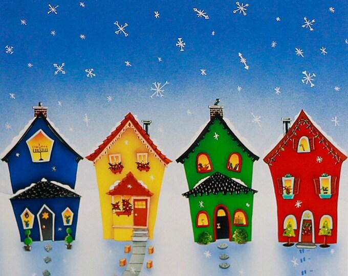HOME FOR The HOLIDAYS Framed Print   Hanukkah, Kwanzaa, Feliz Navidad & Christmas Painting   Holiday Wall Art   Valerie Walsh Art   12x12