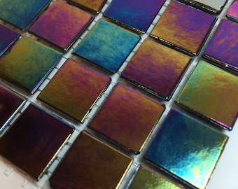 "Black Iridescent 9/16"" Glass Tiles//Mosaic Supplies//Mosaic Surplus//Mosaic Tiles"