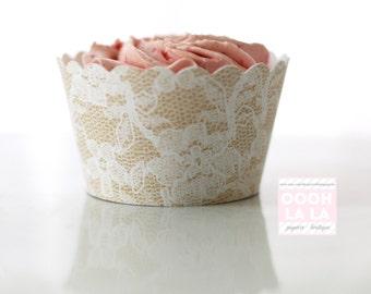 MADE TO ORDER Beautiful in Burlap and Lace Style Cupcake Wrappers- Set of 12