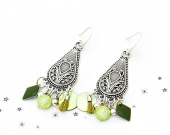 fused glass dichroic sequin lime green Pearl enamel earrings