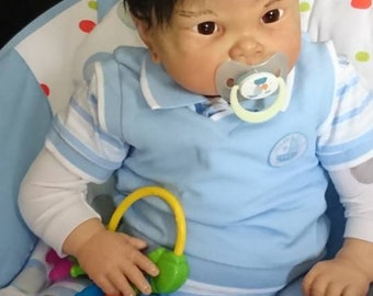 Reborn baby girl or boy awake, Very soft and flexible and realistic and lifelike, asian baby, Genesis paint, mohair hair, ready to Ship !!