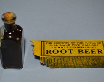 Root Beer Extract by Chaimson Brand, Early 1900 Homemade Beverage Drink, Corked Bottle Top, #485