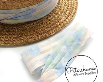 Wrap Around Puggaree Ribbon Hat Band for Hat Making / Millinery - Pastel Floral Print