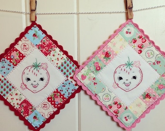 recreate a sweet strawberry embroidered pot holder