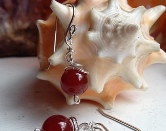 Sterling Silver Red Carnelian Wire Wrapped Drop Dangle Earrings