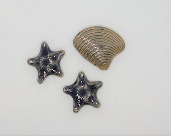Handmade Ceramic Cabochons Earthenware small tiny pair Starfish and shell set blue