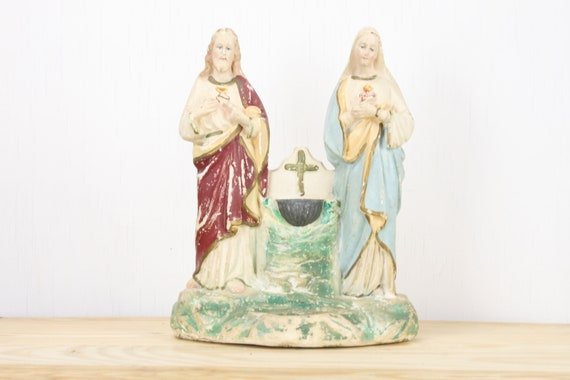 Vintage Chalkware Religious Statue - Shrine - Pewter Holy Water Font - Votive Candle Holder - Jesus & Mary - Cross - Sacred Pierced Heart