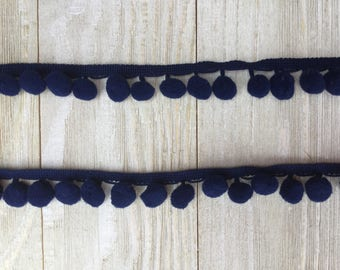 NEW Pom Pom Trim NAVY BLUE-2 yards-1/2 inch Ball