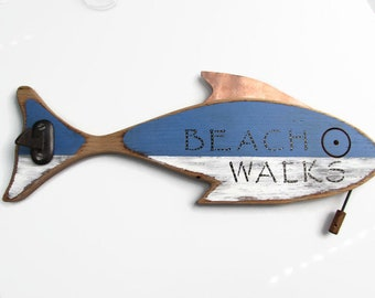 Painted Wooden Fish Wall Hook with Copper Fin,  Beach Walks Message, Ornamental fish Sculpture