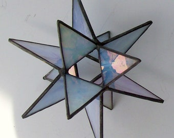 Hanging Moravian Star, Suncatcher, Stained Glass 3-D Star, Iridescent Grey/Blue  Star, Star Ornament, 12 Point Stars, X'mas Gift, Home Decor