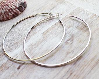 Large Sterling Silver Hoop Earrings, Silver Hoops, Big Hoops, Custom Hoops