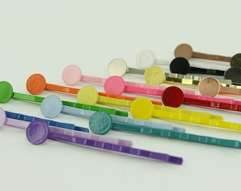 """100 - 2"""" Colorful Enamel Bobby Pins/Hair Pins with Glue Pads 8mm (Choose Your Colors) 2 Inch"""