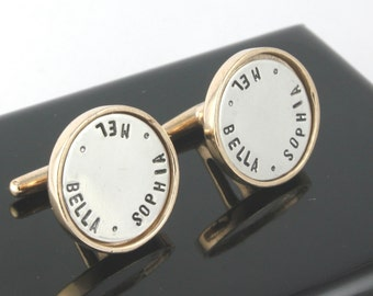 Father's Day Gift for Dad - Personalized Sterling Silver Cufflinks - Bronze Cufflinks - Custom Men's Cuff Links - Shirt Fasteners