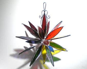 Rainbow Burst - 3D Stained Glass Flower Burst - Large Colorful Home Garden Dahlia Decoration Gay Pride Hanging Suncatcher (READY TO SHIP)
