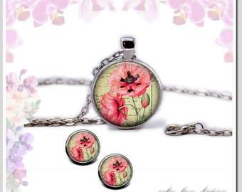 Necklace Earrings Pink Poppy Set-SB25-001