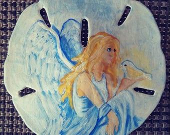 Angel and dove handpainted sanddollar