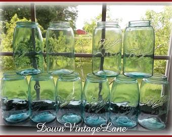 10 Blue Ball Mason Sloped Shoulder Canning Jars Quart Size