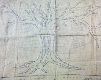 PHENTEX 1970s Vintage Punch Needle Rug Cloth Only 32 x 22 Tree or Ship