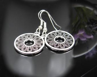Silver bohemian earrings, nickel free surgical stainless steel earrings, dangle drop earrings, bridesmaids gift, silver bohemian jewelry