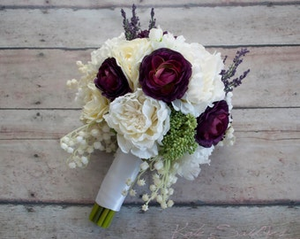 Ivory and Plum Peony Ranunculus and Lavender Wedding Bouquet