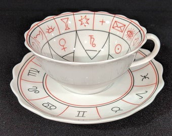I see this going home to you! vintage fortune telling tea leaf reading cup and saucer