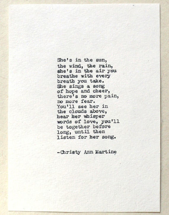 She's In the Rain - Hand Typed Poem