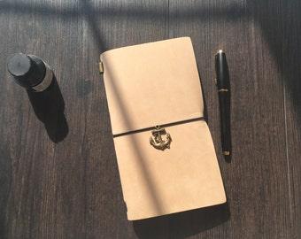 Leather Notebook-Warm Sand/Free Gift Wrap/Handmade/leather Journal/Nubuck Leather/Elegant Touch/Refillable/Traveler/Craft/Fauxdori/Midori