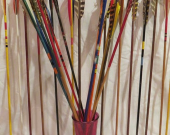 Vintage wood arrows set. Decorative vintage wooden arrows. Pick up to 6 archery colorful painted wood shafts with feather fletchings