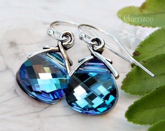 Aqua Vitrail briolette earrings, sterling silver hooks - blue, purple & pink color changing Swarovski crystals - free shipping USA