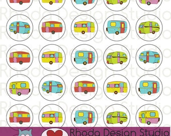 Cheery Sherbet Campers  Button Sheet Digital Clip Art Retro Camp Trailers