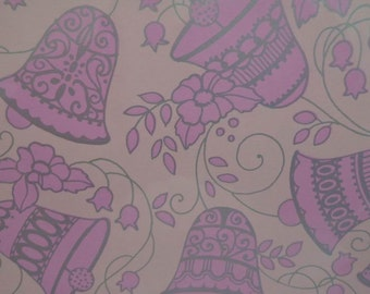 Vintage 1970s Wedding Gift Wrap-Pretty Pink Bells--2 Sheets NIP Wedding Wrapping Paper