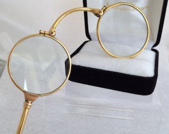 14K Solid Fine Gold Lorgnette Opera folding Antique Eye Glasses Circa 1800 to 1900
