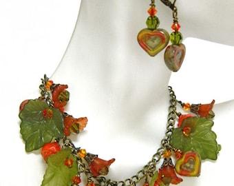 Bracelets for Women Charm Bracelet Gift for Women Leaf Bracelet Jewelry Set Green Bracelet Gift for Her Chain Bracelet Boho Bracelet