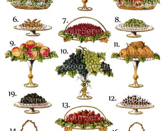 Vintage Fruit Clip Art Printable Instant Download 19 images