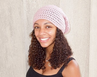 Slouchy Hat Crochet, Pink, Rose, Women, Teen, Ready To Ship,,