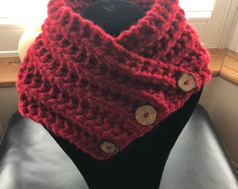 Collar hand knit, Red Collar, red scarf.