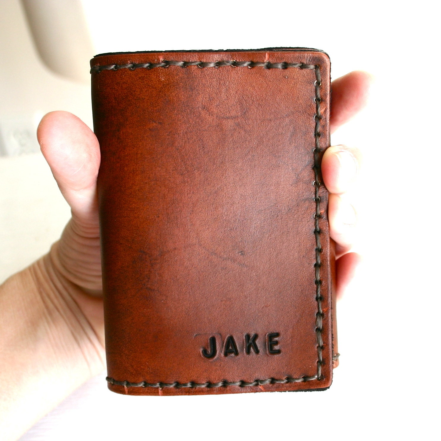 TriFold Mens Wallet, Mens Leather Wallet, Personalized Mens wallet 3rd anniversary gift for Husband or Boyfriend, Groomsmen gift wedding