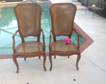DOUBLE CANE ARM CHAIRs / Pair of Antique French Provincial Style Cane Arm Chairs / Tall Back Double Cane Arm Chairs at Retro Daisy Girl