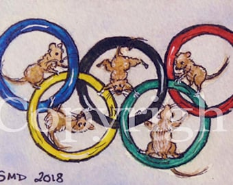 Original ACEO/ATC/SFA Winter Olympics Art - Mouse Olympics Mixed Media Painting - Mice in the Olympic Rings -Signed by Artist- Free Shipping